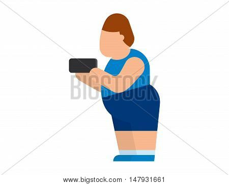 Fat people vector abstract silhouette character. Fat people body icons symbol silhouette. Health problems. Diet food human problems