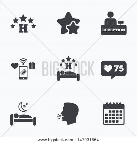 Five stars hotel icons. Travel rest place symbols. Human sleep in bed sign. Hotel check-in registration or reception. Flat talking head, calendar icons. Stars, like counter icons. Vector