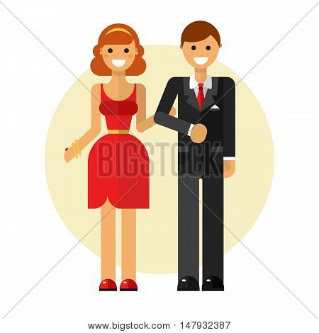 Flat design vector illustration of funny smiling couple in love. Happy young woman in pretty dress keeping man's hand in suit. Dating and relationship concept.
