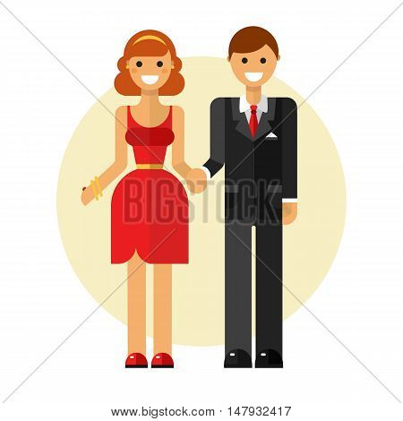 Flat design vector illustration of funny smiling couple in love. Happy young man in suit and woman in pretty dress are holding hands. Dating and relationship concept.