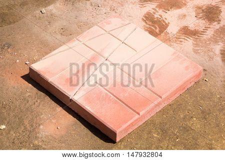 Grinder Cut Red Concrete Paving Slabs