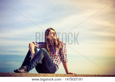 Man Long Hair Relaxing Outdoor Sky Background