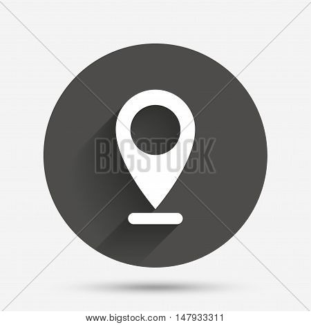 Internet mark icon. Navigation pointer symbol. Position marker sign. Circle flat button with shadow. Vector