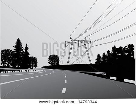 Ilustración con la línea eléctrica en bosque cerca de carretera