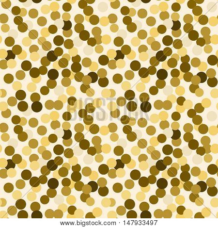 Gold sequins confetti laying on the floor vector background for cards. Stylish monochrome gold glitter dot circles top view.