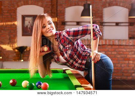 Young Woman Having Fun With Billiard.