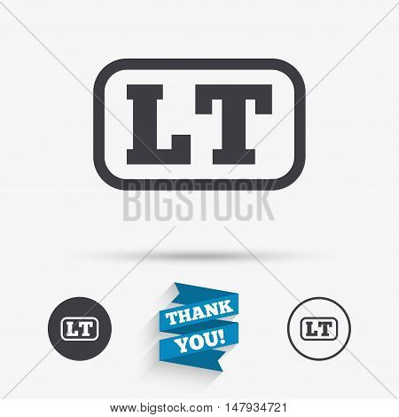 Lithuanian language sign icon. LT translation symbol with frame. Flat icons. Buttons with icons. Thank you ribbon. Vector