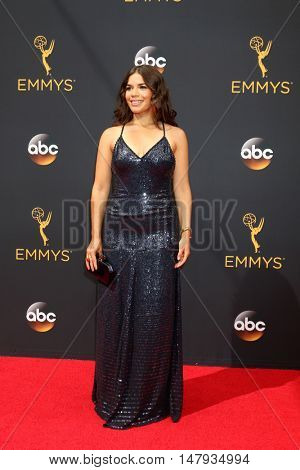 LOS ANGELES - SEP 18:  America Ferrera at the 2016 Primetime Emmy Awards - Arrivals at the Microsoft Theater on September 18, 2016 in Los Angeles, CA