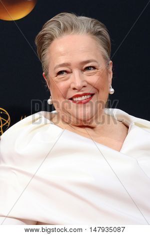 LOS ANGELES - SEP 18:  Kathy Bates at the 2016 Primetime Emmy Awards - Arrivals at the Microsoft Theater on September 18, 2016 in Los Angeles, CA