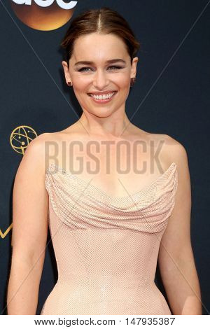 LOS ANGELES - SEP 18:  Emilia Clarke at the 2016 Primetime Emmy Awards - Arrivals at the Microsoft Theater on September 18, 2016 in Los Angeles, CA