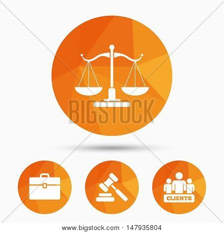 Scales of Justice icon. Group of clients symbol. Auction hammer sign. Law judge gavel. Court of law. Triangular low poly buttons with shadow. Vector