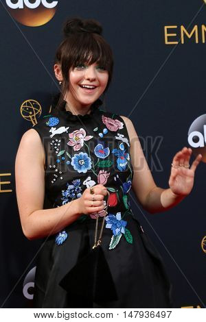 LOS ANGELES - SEP 18:  Maisie Williams at the 2016 Primetime Emmy Awards - Arrivals at the Microsoft Theater on September 18, 2016 in Los Angeles, CA