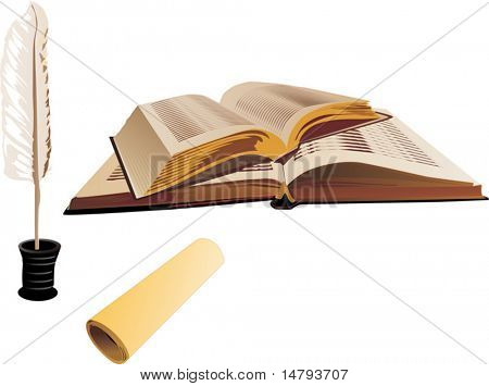 illustration with books, scroll and feather isolated on white background