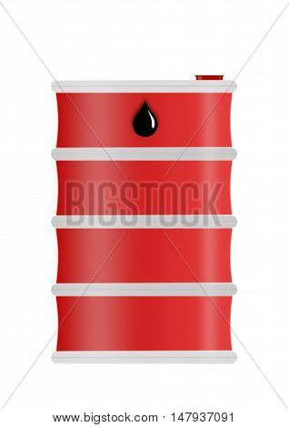 Red steel oil drum heavy duty isolated on white background