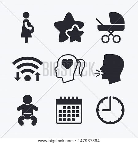 Maternity icons. Baby infant, pregnancy and buggy signs. Baby carriage pram stroller symbols. Head with heart. Wifi internet, favorite stars, calendar and clock. Talking head. Vector
