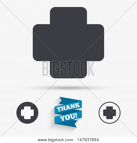 Medical cross sign icon. Diagnostics symbol. Flat icons. Buttons with icons. Thank you ribbon. Vector