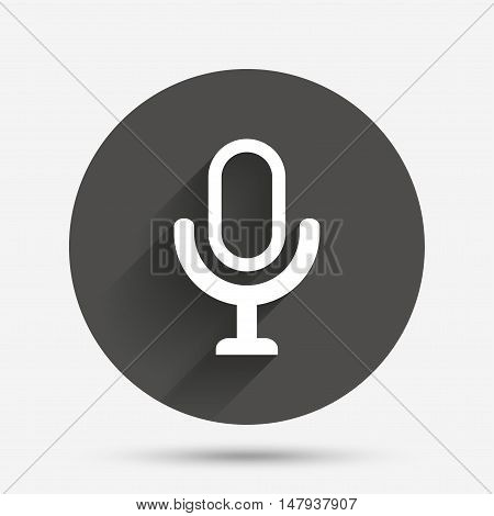 Microphone icon. Speaker symbol. Live music sign. Circle flat button with shadow. Vector