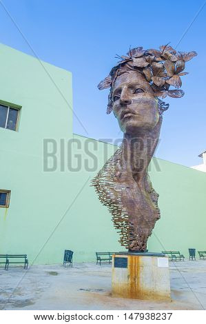 HAVANA CUBA - JULY 18 : The Primavera statue in Havana Cuba on July 18 2016. The statue was created by sculptor Rafael San Juan