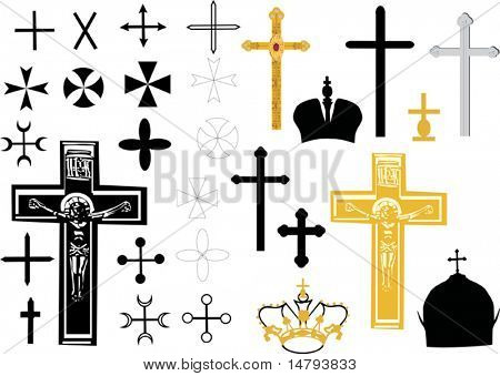 different cross collection isolated on white background