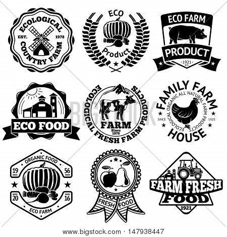 Farm food vector labels set, with mill, vegetables, pig, farm house, cow, chicken fruits tractor