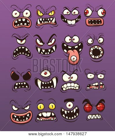 Cartoon scary and funny monster faces. Vector clip art illustration with simple gradients. Each on a separate layer.