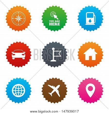 Navigation, gps icons. Windrose, compass and map pointer signs. Car, airplane and flag symbols. Stars label button with flat icons. Vector