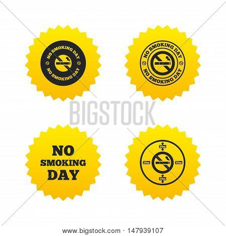 No smoking day icons. Against cigarettes signs. Quit or stop smoking symbols. Yellow stars labels with flat icons. Vector