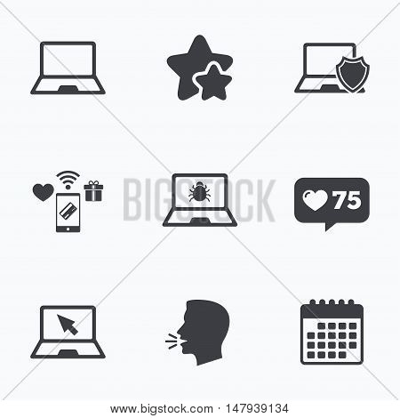 Notebook laptop pc icons. Virus or software bug signs. Shield protection symbol. Mouse cursor pointer. Flat talking head, calendar icons. Stars, like counter icons. Vector