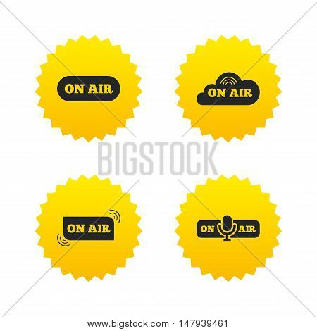 On air icons. Live stream signs. Microphone symbol. Yellow stars labels with flat icons. Vector
