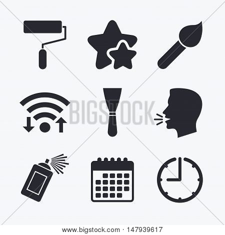 Paint roller, brush icons. Spray can and Spatula signs. Wall repair tool and painting symbol. Wifi internet, favorite stars, calendar and clock. Talking head. Vector