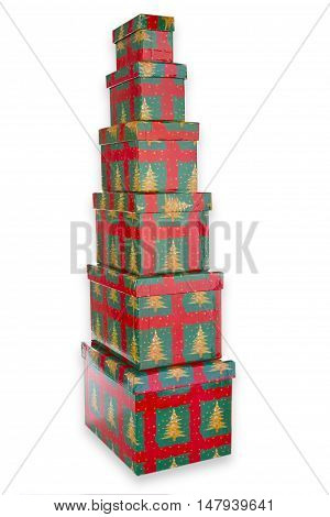 Chrismas gift boxes isolated on white background