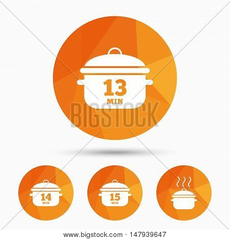 Cooking pan icons. Boil 13, 14 and 15 minutes signs. Stew food symbol. Triangular low poly buttons with shadow. Vector