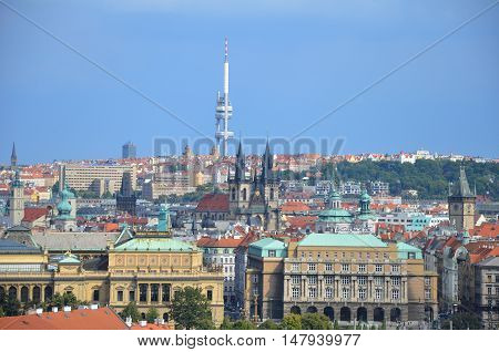 Prague TV tower with blue sky, Czech Republic