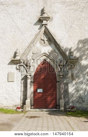 Portal of the medieval Lutheran church in Keila, Estonia