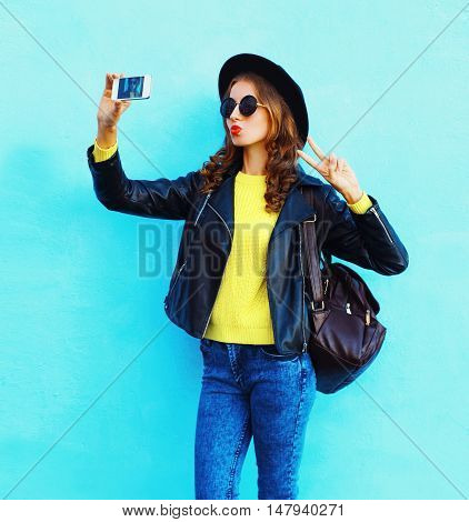 Fashion Pretty Cool Young Girl Taking Photo Makes Self Portrait On Smartphone Wearing Black Rock Sty
