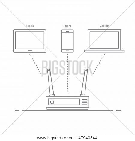 Concept of the work of the router in the office or at home. Connecting electronic devices to the Internet without wires. Transferring data between devices over the air. Isolated on white background