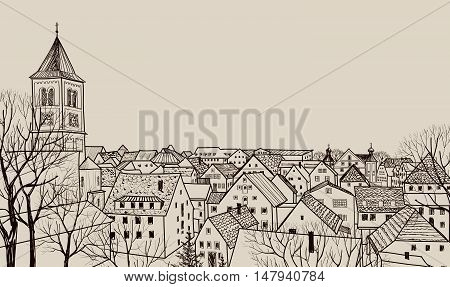 Street cafe in old city. Cityscape - houses buildings and tree on alleyway. Old city view. Medieval european castle landscape. Pencil drawn editable vector sketch
