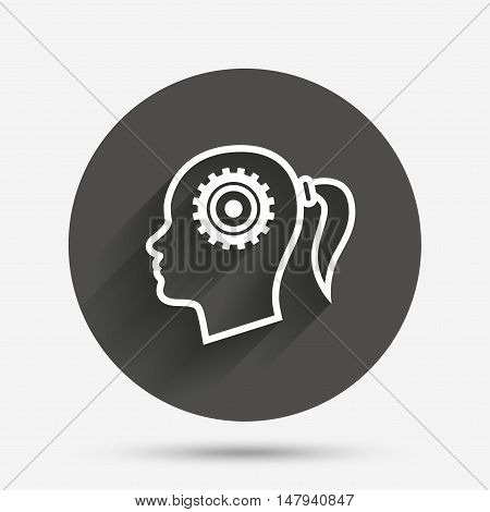 Head with gear sign icon. Female woman human head think symbol. Circle flat button with shadow. Vector