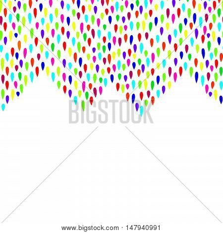 Abstract water drop pattern. Zig zag spot background. Abstract drop pattern. Seamless rainbow blot border