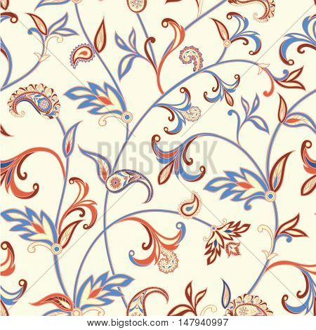 Floral pattern Flourish tiled oriental ethnic background. Arabic ornament with fantastic flowers and leaves. Wonderland motives of the paintings of ancient Indian fabric patterns.