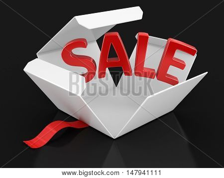 3D Illustration. Open package with Sale. Image with clipping path