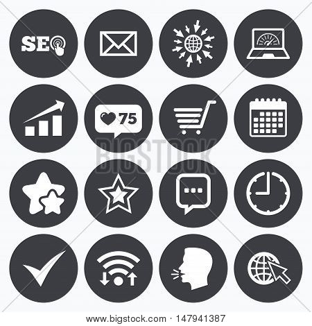 Calendar, wifi and clock symbols. Like counter, stars symbols. Internet, seo icons. Tick, online shopping and chart signs. Bandwidth, mobile device and chat symbols. Talking head, go to web symbols. Vector