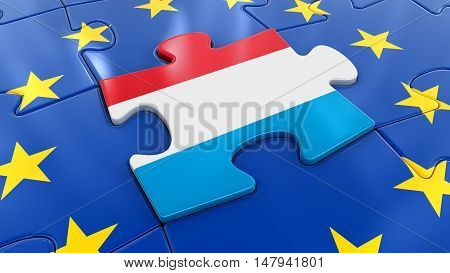 3D Illustration. Luxembourg flag Jigsaw as part of EU