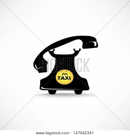 Taxi sign. Call taxi icon. Retro phone with circle taxi emblem