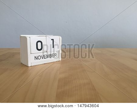 November 1St. November 1 White Wooden Calendar On Vintage Wood Abstract Background.autumn Day.copysp