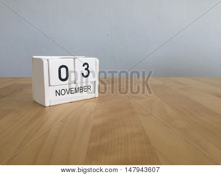 November 3Rd. November 3 White Wooden Calendar On Vintage Wood Abstract Background.autumn Day.copysp