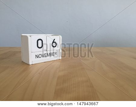 November 6Th. November 6 White Wooden Calendar On Vintage Wood Abstract Background.autumn Day.copysp