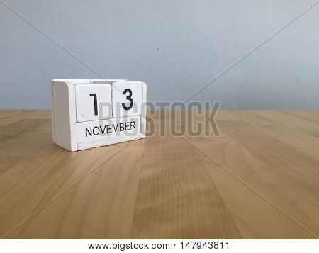 November 13Th. November 13 White Wooden Calendar On Vintage Wood Abstract Background.autumn Day.copy