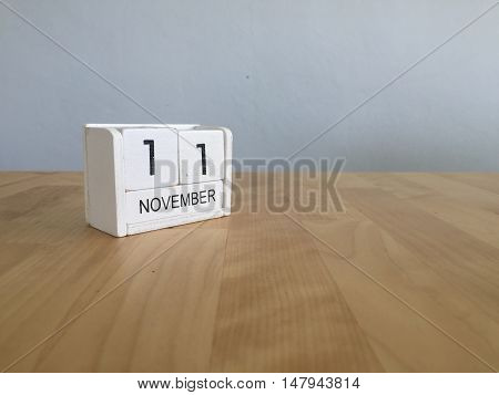November 11Th. November 11 White Wooden Calendar On Vintage Wood Abstract Background.autumn Day.copy