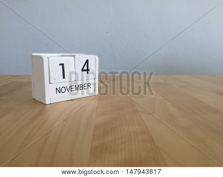November 14Th. November 14 White Wooden Calendar On Vintage Wood Abstract Background.autumn Day.copy